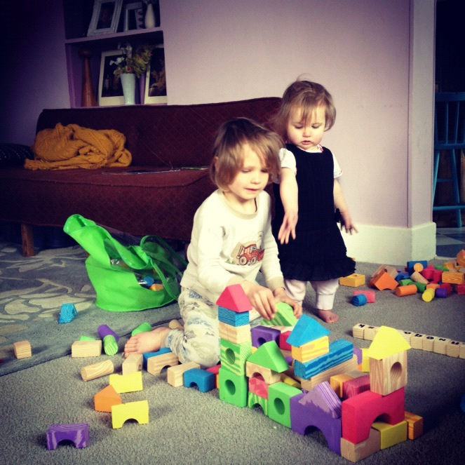 little kids playing with blocks instagram