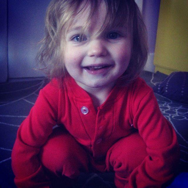 little boy red pajamas smiling long hair instagram
