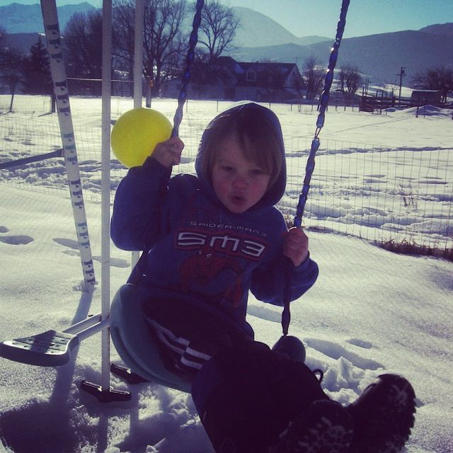 little boy swing snow instagram