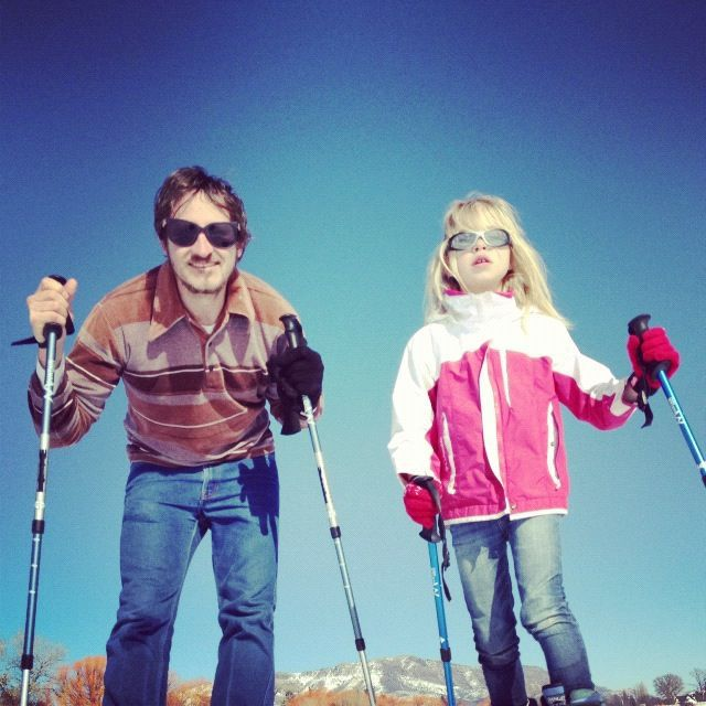 little girl and dad snowshoeing instagram