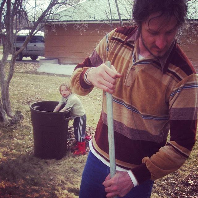 dad little kids working in yard raking leaves instagram