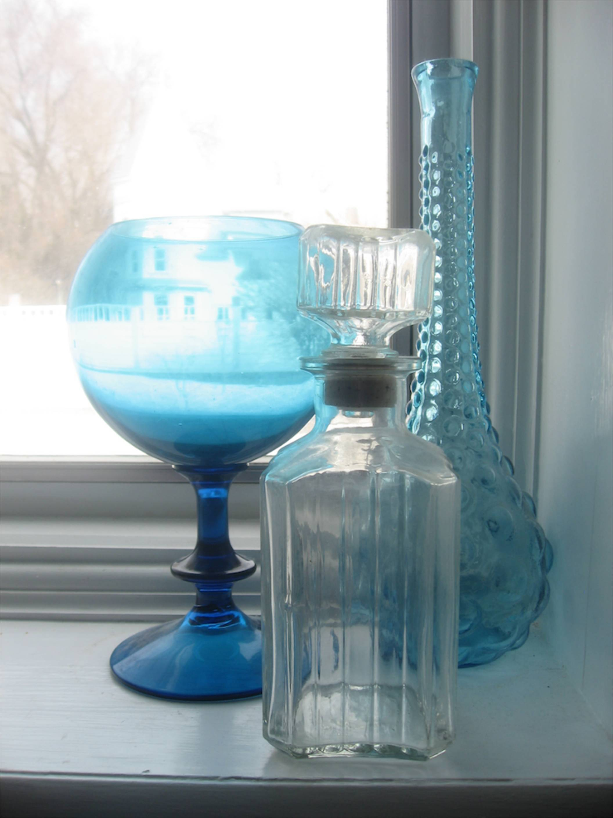 blue glass in window