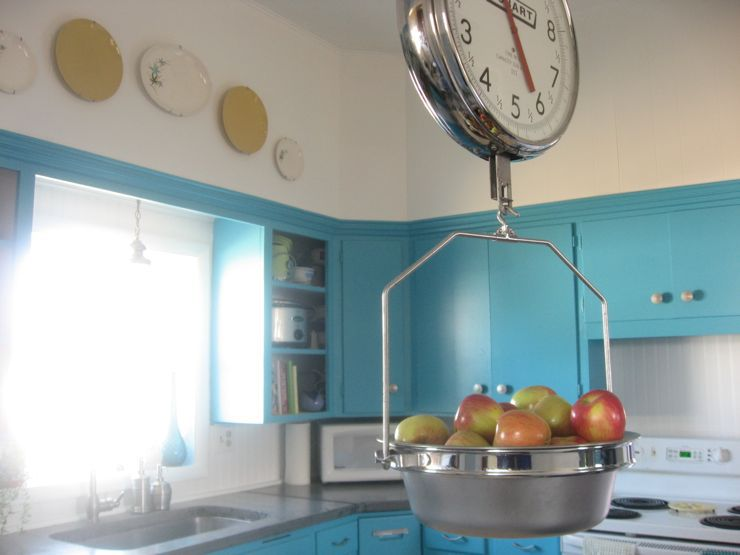 turquoise teal blue kitchen concrete countertop wallpaper