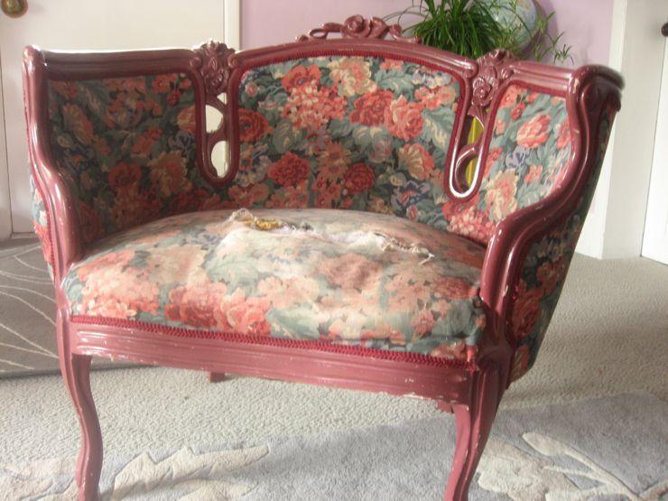 antique sofa make over before