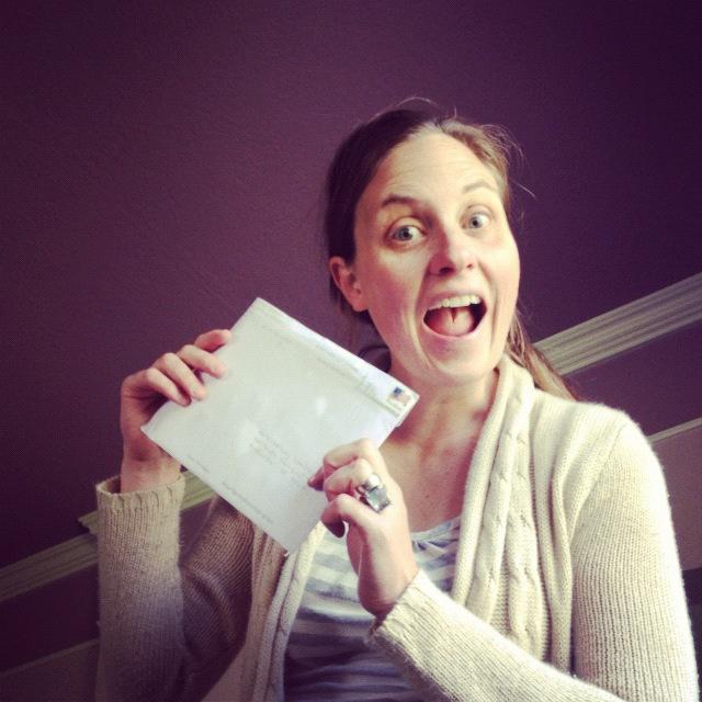 woman holding letter instagram
