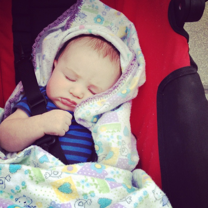 baby sleeping in stroller instagram