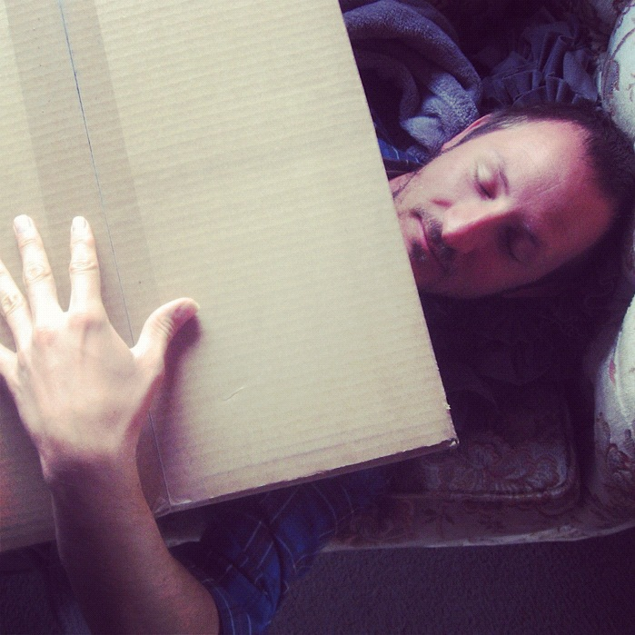 man hugging box instagram