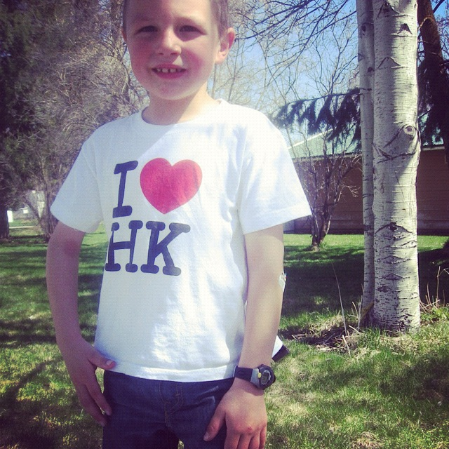 little boy watch instagram