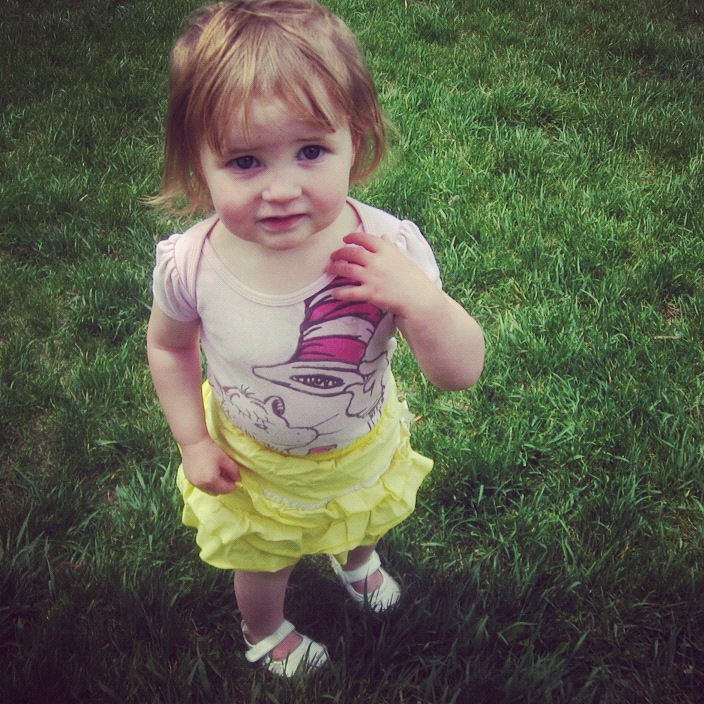 baby girl skirt walking grass instagram