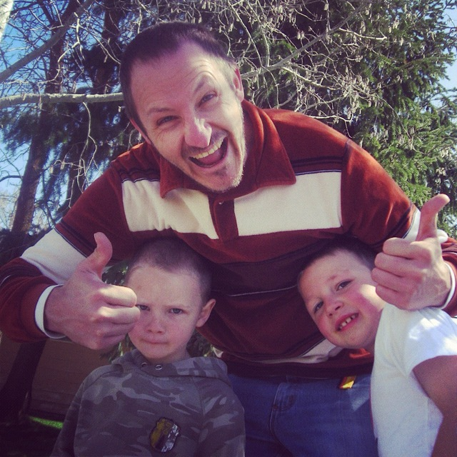 man and sons thumbs up instagram