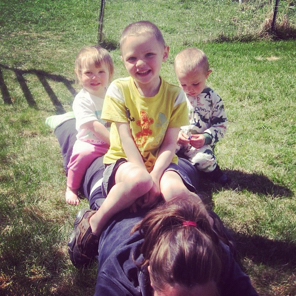 kids sitting on moms back instagram