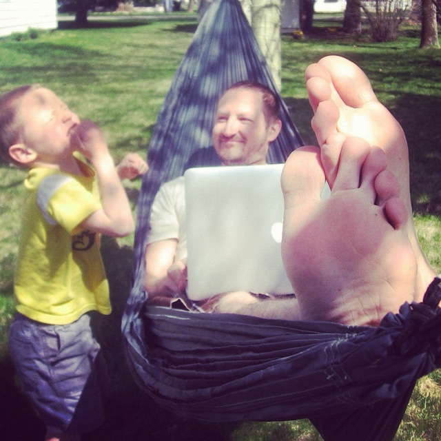 man hammock laptop son instagram